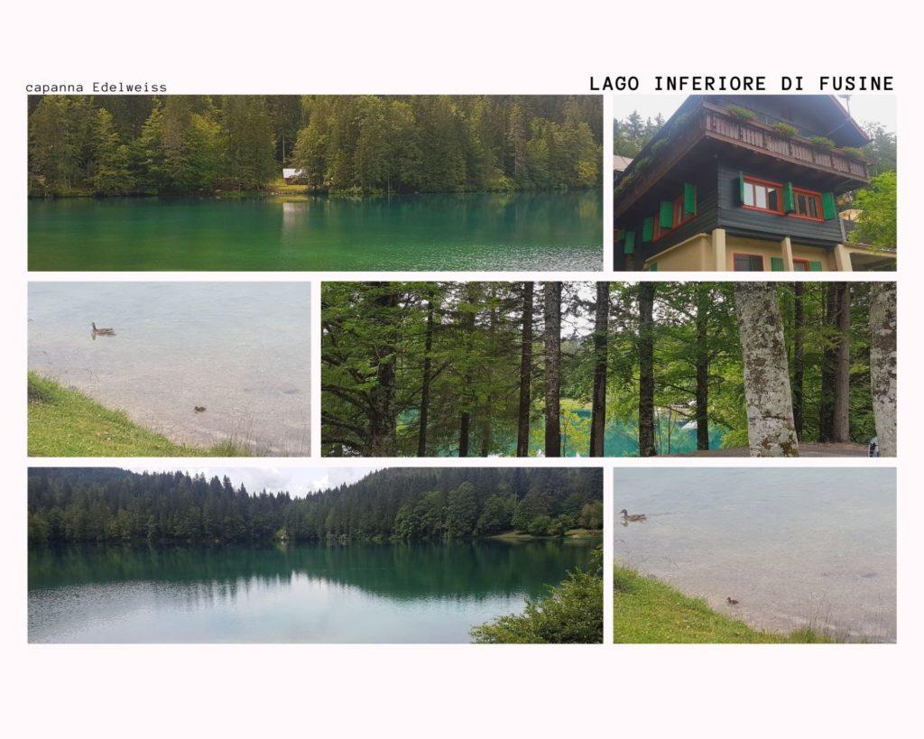 Il lago di Fusine inferiore visto dalla terrazza della capanna Edelweiss