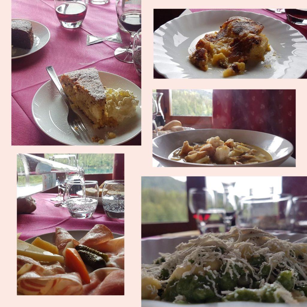 Il menù di Ein Prosit proposto dalla capanna Edelweiss sul lago di Fusine