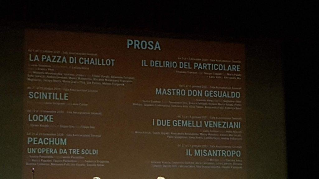 I titoli di prosa del teatro Rossetti atti primo