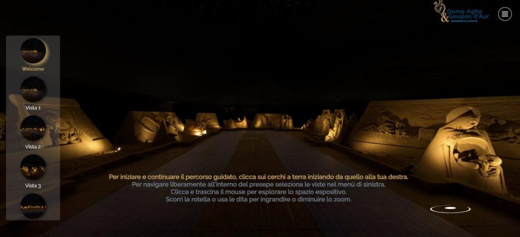 Uno screenshot dell'immagine d'aperture del tour virtuale del Presepe di sabbia di Lignano